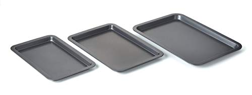 Nifty Set of 3 Non-Stick Cookie and Baking Sheets – Non-Stick Coated Steel, Dishwasher Safe, Oven Safe up to 500 Degrees, Includes Large, Medium, and Small Pans