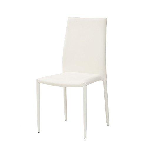 Cribel Dani Plus Sedia, finta pelle, Bianco, 46x50x89 cm, 6 unità