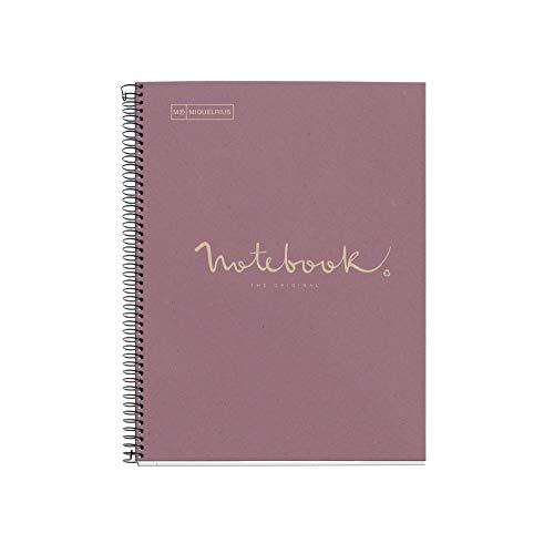 MIQUELRIUS - Cuaderno Notebook Emotions 100% Reciclado - 1 franja de color, A4, 80 Hojas cuadriculadas 5mm, Papel 80 g, 4 Taladros, Cubierta de Cartón, Color Lavanda