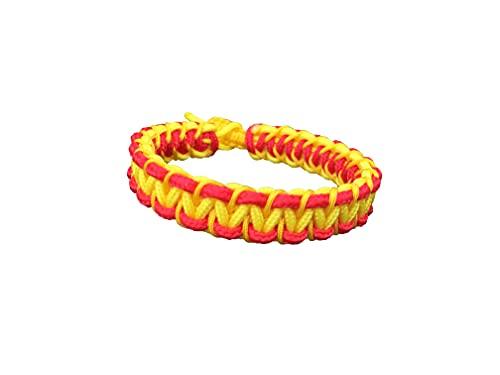 Nudos a Mares Pulsera con Propósito 'España esta de moda' tejida a Mano con Cuerdas Paracord. Impermeable y Resistente. Cierre Seguro (S-M (16-18 CM))