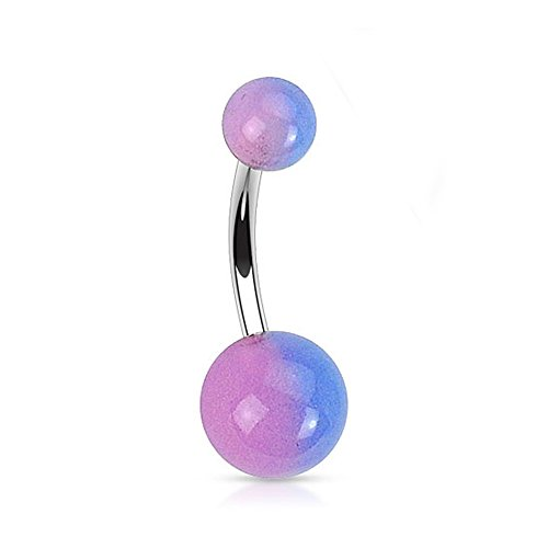 "{Aurora Borealis}316L Steel Navel Ring 2-Tone Glow in the Dark Ball-14GA-7/16"" Long (Sold Ind.)"