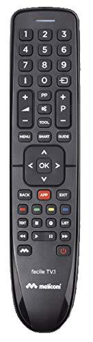 Meliconi Facile TV.1 telecomando universale per 1 TV con corpo in gomma. Ideal eper Tv Smart. Assistenza telefonica. Aggiornabile via Web