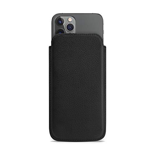 WIIUKA Hülle für iPhone 12 / 12 Pro, Lederhülle extra Dünn, Deutsches Premium Leder, Design Handyhülle Tasche Schwarz