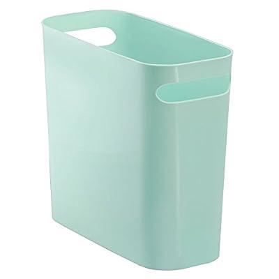 "iDesign UNA Rectangular Trash Handles, Waste Basket Garbage Can for Bathroom, Bedroom, Home Office, Dorm, College, 10"" Inch, Mint"