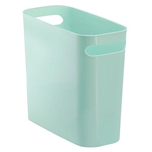 iDesign Una Papierkorb mit Griffen, Abfalleimer aus Kunststoff für Büro, Küche oder Bad, mintgrün