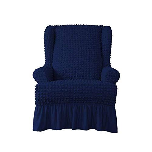 WLVG Stretch Ohrensessel Schonbezug, Seersucker Rock Ohrensessel Stuhlbezug Landhausstil Ohrensessel Schonbezug für Wohnzimmer Schlafzimmer-Royal Blue-Wing Chair