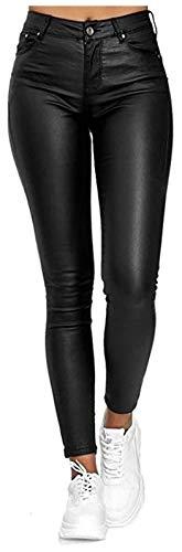 XiuLi Freizeithose Mode Damen Lederhose Sexy Skinny Legging Stretch PU Leder Look Optik Schwarz Schlank Hose Kunstlederhose Push Up Biker Pants (Color : Black, Size : S)