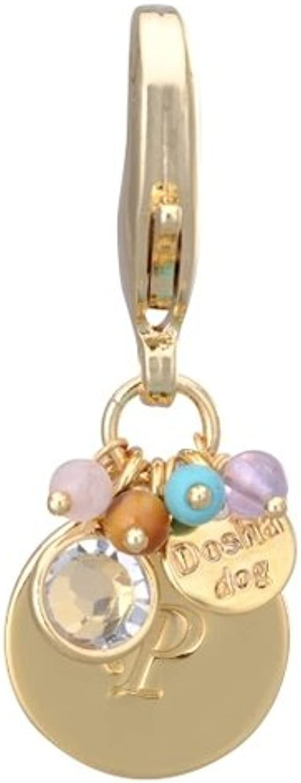 Dosha Dog gold Initial Charm Letter P