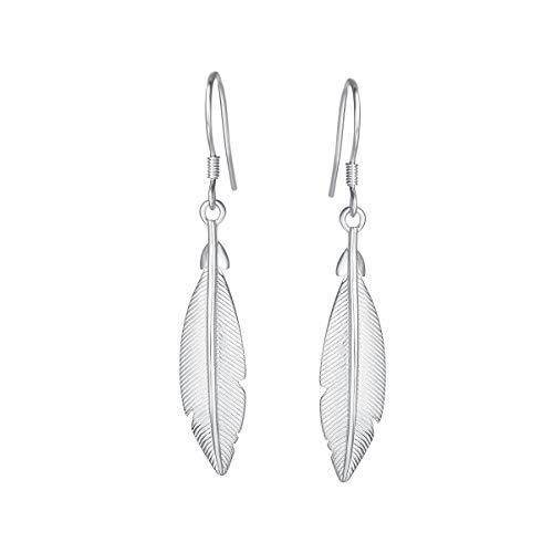 AGVANA 925 Pendientes colgantes de plumas de plata esterlina Chapados en oro Diseño minimalista Pendientes de hojas Regalos de joyería para mujeres