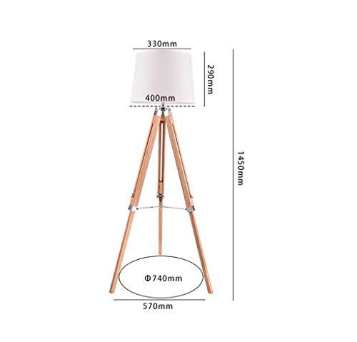 LY88 Floor Light staande lamp, woonkamer, retro, LED, afdekking van robuuste stof, slaapkamer, van hout, statief, houder gemaakt van hout, lamp, grootte: 57 x 145 cm