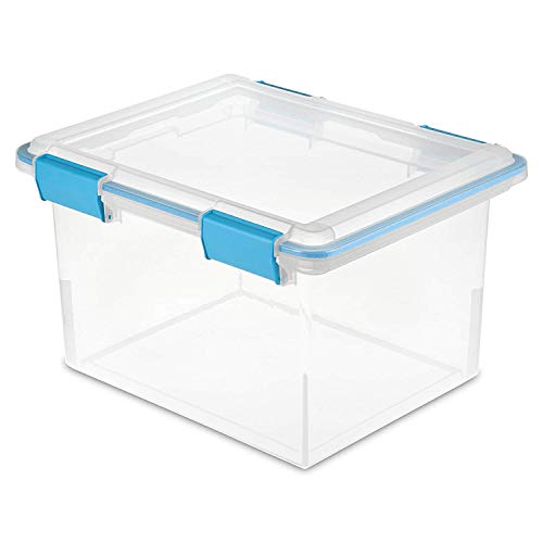 Sterilite 19334304 Clear 32 Quart Gasket Box with Clear Base and Lid 8 Pack