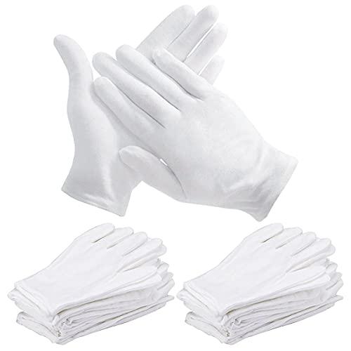 Witte katoenen handschoenen, DBAILY 48 stks Zachte Verdikte Mannen en Vrouwen Handschoenen Wasbare Krimpbestendige Handschoenen Medium Rekbaar Ademend Doek Handschoenen voor Archival Munt Sieraden Zilver Inspectie Dagelijks Werk