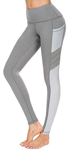 Flatik Leggings sportivi da donna, pantaloni sportivi da donna, pantaloni da yoga, allenamento, leggings grigio/bianco XL