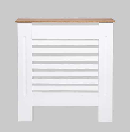 Radiator Cover Cabinet MDF Modern Horizontal Design for Living/Bed room-Oak+White-Small