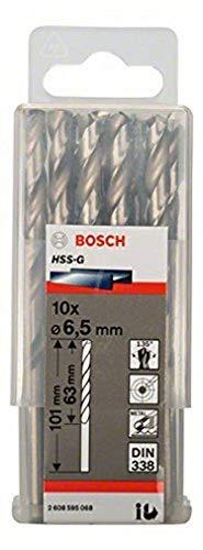 Bosch Professional Metallbohrer HSS-G geschliffen (10 Stück, Ø 6,5 mm)