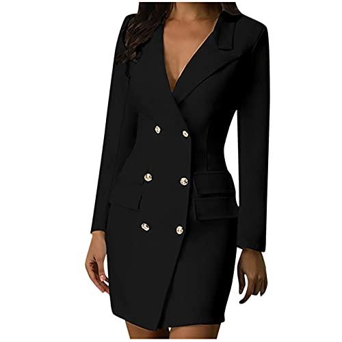 TTivxe Dames kokerjurk slanke zakelijke jurk dubbele rij V-hals kantoorjurk kostuumjurk knielange cocktailjurken