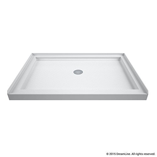 DreamLine SlimLine 32 in. D x 48 in. W x 2 3/4 in. H Center Drain Single Threshold Shower Base in White, DLT-1132480