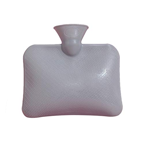 karrychen Hot Water Bottle, Colour Hot Water Bottle with Natural Rubber Featuring Secure L -Gray