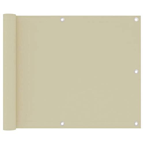 Balkon Sichtschutz und Rechteckige Schutzwände, Balkonschutz, Creme, Oxford Tuch, 75 X 500 Cm, 24 M PE-Seil, Wasser- und Windabweisend