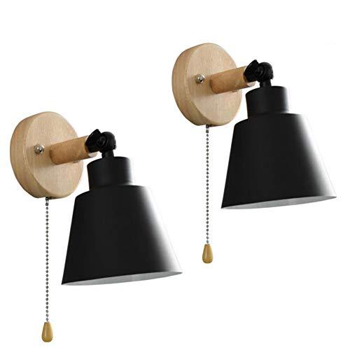 XKAI Lámpara de Pared de Mesilla de Noche de Madera Industrial de Luz de Pared Vintage E27 Negra con Interruptor Iluminación de Pared de Metal de ángulo Ajustable de 180° Luz de Lectura,Negro,2PCS
