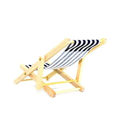 Casa de muñecas miniatura Silla de playa de madera plegable Mini Chaise Longue Juguetes con rayas Casa de muñecas Accesorios de muebles al aire libre Color aleatorio Fina mano de obra