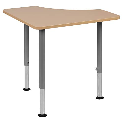 "Flash Furniture Triangular Natural Collaborative Student Desk (Adjustable from 22.3"" to 34"") - Home and Classroom"
