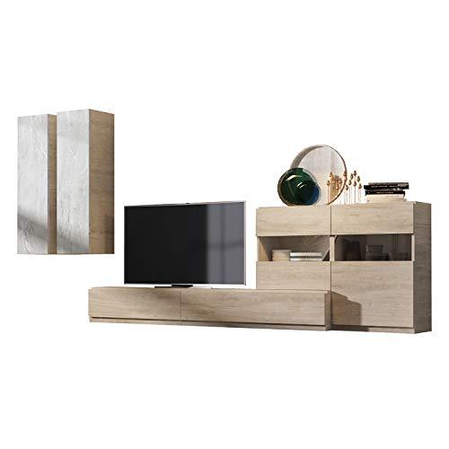 Tousmesmeubles Composition TV Bois Clair/Marbre Blanc - Camelia n°2 - L 360 x l 45 x H 170 - Neuf