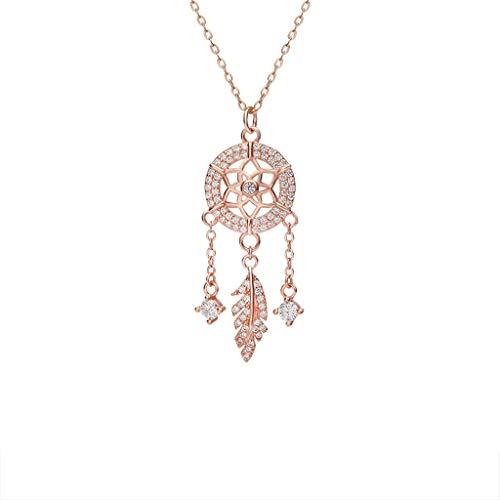 zlw-shop Collar de Mujer Plata de la Borla Collar del colector del sueño Pluma Mujer de Ley clavícula Cadena Pendiente de Plata del Oro de Rose Collares Pendientes (Color : Rose Gold)