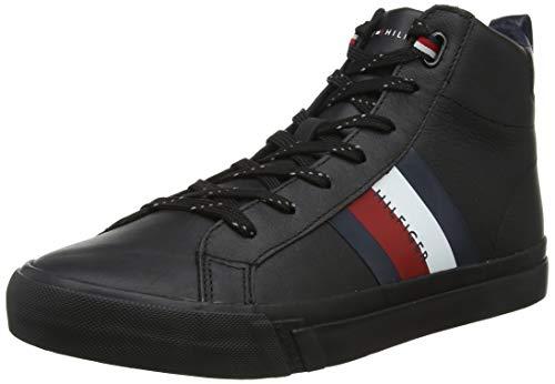 Tommy Hilfiger Flag Detail Leather Sneaker High, Scarpe da Ginnastica a Collo Alto Uomo, Nero (Black 990), 42 EU