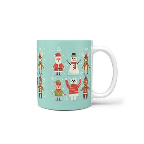 BTJC88 - Taza de café con mango de porcelana personalizada, diseño de árbol de Navidad de 11 onzas