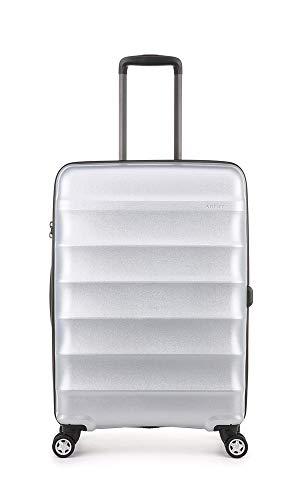 Antler Antler Suitcase Juno Metallic, 4 Wheel Spinner, Medium, 68cm - 70L, Silver Suitcase, 68 cm, 70 liters,Silver