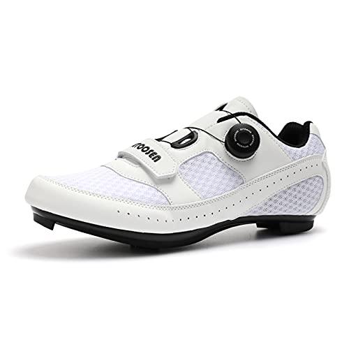 ASORT Zapatillas de Ciclismo para Hombre para Mujer Zapatillas Pro Bike Zapatillas Peloton Zapatillas de Bicicleta Compatibles con Los Tacos SPD y Delta,White+Blue-37EU