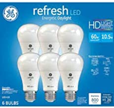 GE Refresh High Definition LED Light Bulb 10.5-watt 5000K Energetic Daylight 800-Lumens 6-Pack 60-watt Replacement Dimmable A19