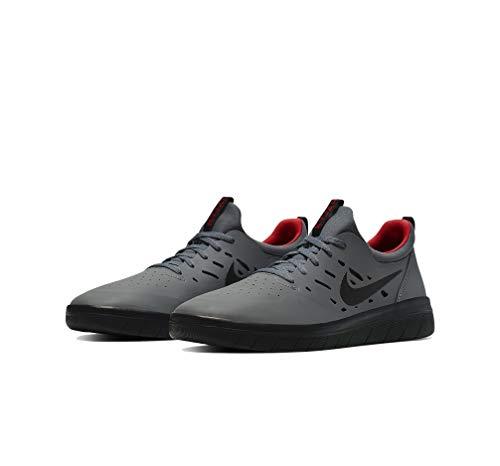 Nike SB Nyjah Free Skate Shoes (Dark Grey/Black, 8)