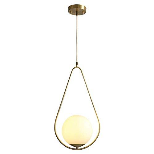 WGFGXQ -C 29cm Candelabro de Cobre Moderno Pantalla de Bola de Vidrio Esmerilado Diseño de Simplicidad nórdica Luz de Techo Entrada de Pasillo Balcón Lámpara Colgante C