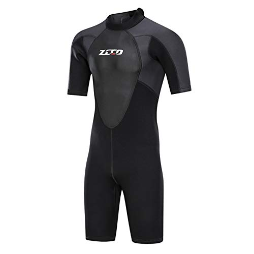 ZCCO 3mm Wetsuits Men's Premium Neoprene Back Zip Shorty Diving suits for Surfing,Snorkeling,Canoeing,Spearfishing,Scuba Dive skin(Black X-Large)