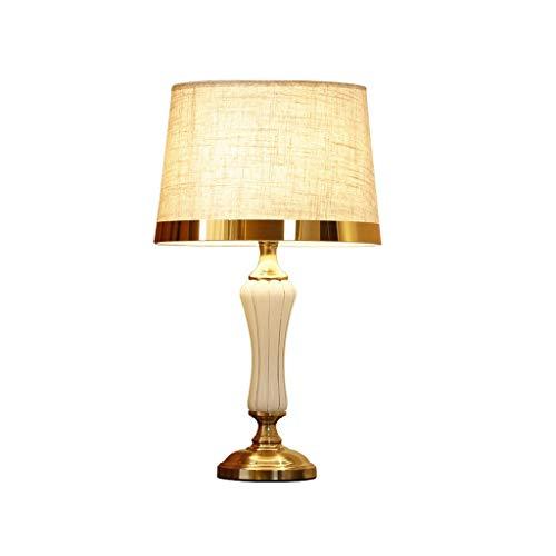 ZWeiD Living Room Lamp, Side Table decoratieve tafellamp Vergulde Keramische Lamp Body Linnen Phnom Penh lampenkap Table Lamp E27 Spaarlamp Verlichting tafellamp (Size : 33 * 58cm)