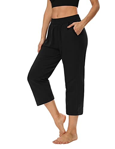 ZJCT Womens Capri Pants Loose Comfy Elastic Waist Lounge Yoga Sweatpants Crop Pants Wide Leg Capris for Women with Pockets Black S