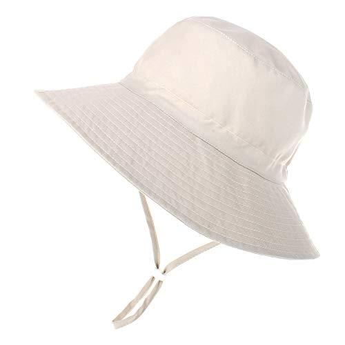 Happy Cherry - Bambino Cappello de Sole Estivo Bucket Hat Bambine Neonati Berretto Protezione Solare Cappello Anti-UV con Sottogola Ragazza Ragazzo per Spiaggia Vacanza Viaggio Beige - 3-8 Anni