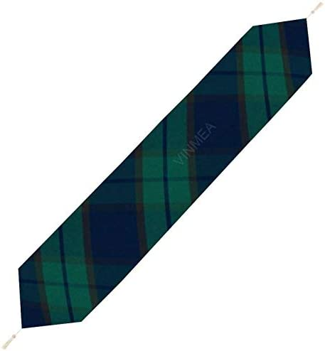 VinMea Table Runner for Farmhouse Style with Tassels Black Watch Tartan Plaid Classic Blue Green product image