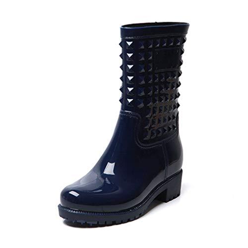 BotaLluviaMujer Altas BotaGomaBotaImpermeableBotines WellingtonBoots Exterior Zapatos Planos Antideslizante Trabajo Jardín Invierno Negro Azul 36-43 Azul 36