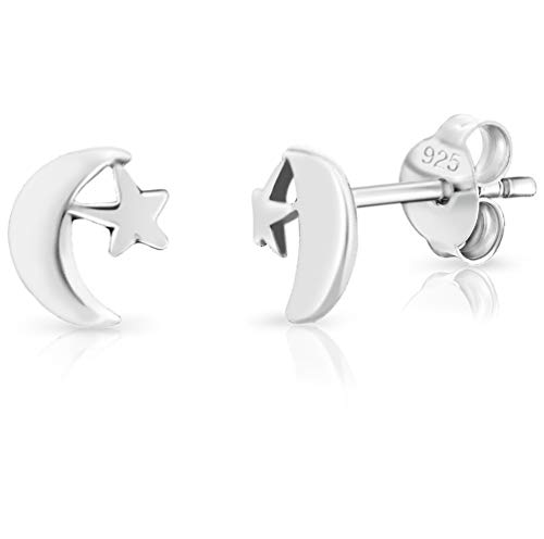 DTPsilver SMALL 925 Sterling Silver Studs Earrings - Crescent/Half Moon with Face and Small Star - Dimension: 6 x 7 mm