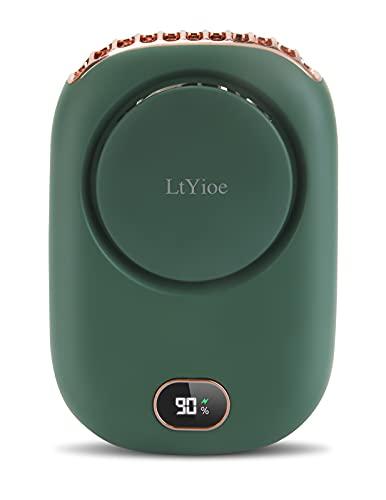 Ventiladores USB LtYioe Ventiladores Pequeños de Mano Portatil Ventiladores Recargable Bateria Silencioso, 3 Velocidades y Pantalla LED inteligente, para Oficina Hogar Viajes Aire Libre (Verde