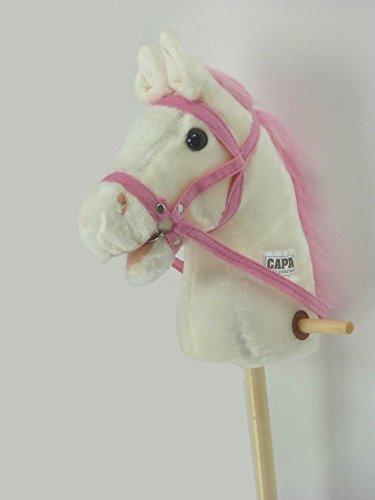 Steckenpferd Schaukelpferd Reitpferd Pferd am Holz Stab in weiß und pink ST04