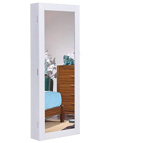 COSTWAY Armario Joyas Espejo de Cuerpo de Pared 88 x 35 x 9 cm Joyero Organizador Colgante Blanco Plata