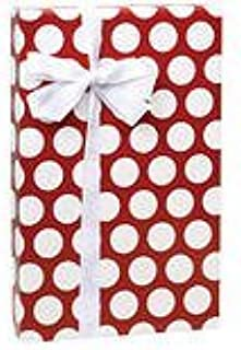 Gloss Crimson Red and White Large Polka Dot Wrap Wrapping Paper Roll - 16 Foot