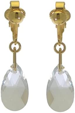 LA POIRE Gold Plated Clear Crystal Clip On Earrings