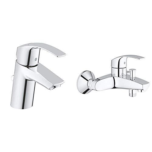 Grohe Eurosmart - Grifo de lavabo con pop-up waste + Grohe Eurosmart - Grifo para baño y ducha Mezclador de baño