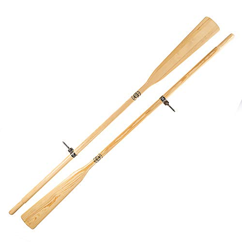 John Paddle Set:1 Paar (2 Stück) Holzruder Bootsriemen + 2 Ruderdollen (2 Ruderlager + 2 Kragen) aus Edelstahl + Oar Sleeve (Rudertasche) - EU Produktion (270 cm, Ruder mit Ruderdollen)