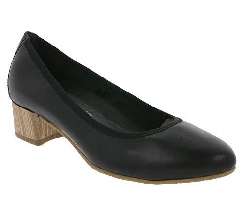 Tamaris Schuhe Echtleder-Pumps Elegante Damen Absatz-Schuhe Stöckel-Schuhe Business Schwarz/Braun, Größe:36